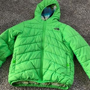 North Face Boys Green Hooded Puffer Jacket 10/12